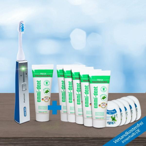 Ultraschallzahnbürste - Platinum Blau Vorratspaket