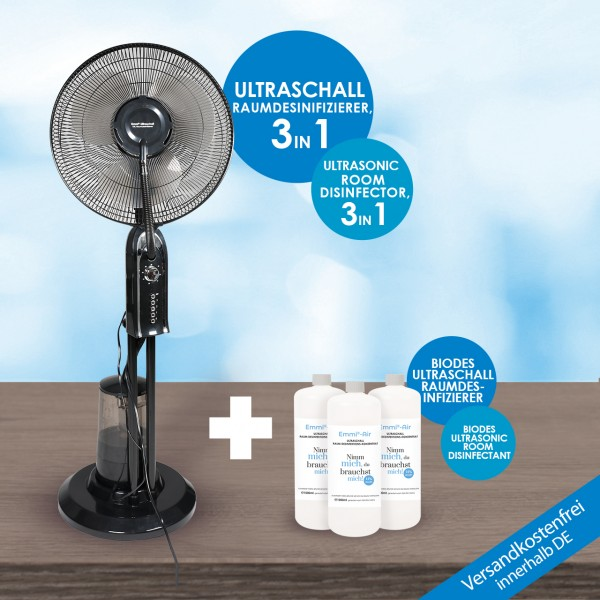 Ultraschall XXL Raumdesinfizierer + 3x Emmi-BioDes Raumdesinfektionskonzentrat