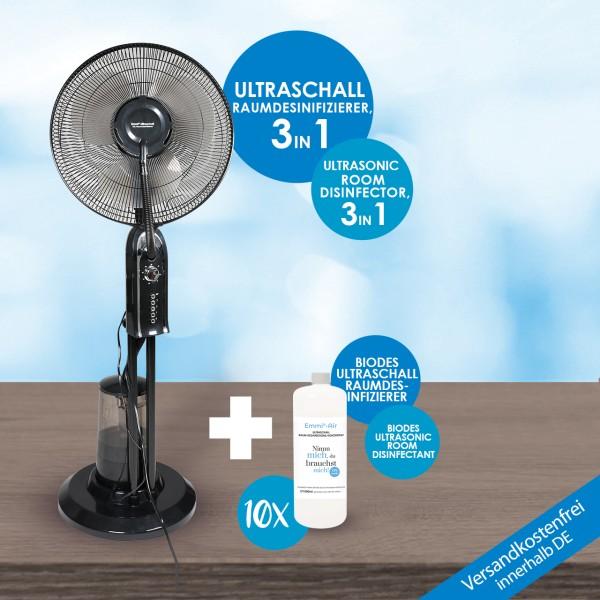 Ultraschall XXL Raumdesinfizierer + 10x Emmi-BioDes Raumdesinfektionskonzentrat
