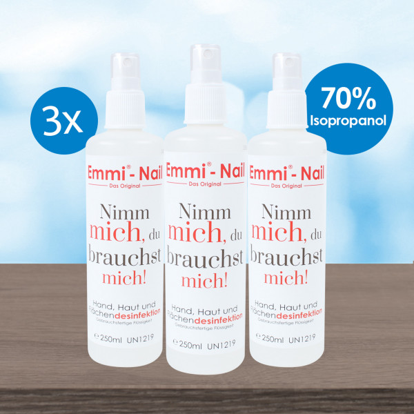 Emmi®-Nail 3er Pack Sprühdesinfektion 250ml